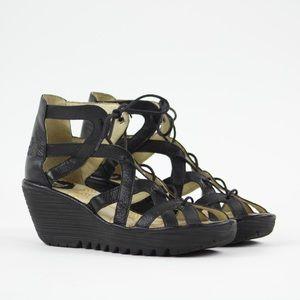 Fly London Womens Yuke Gladiator Wedged Sandals